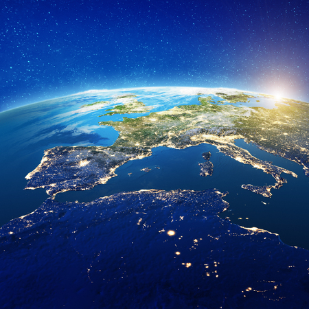 Europe and North Africa. Elements of this image furnished by NASA. 3d rendering Stock Photo