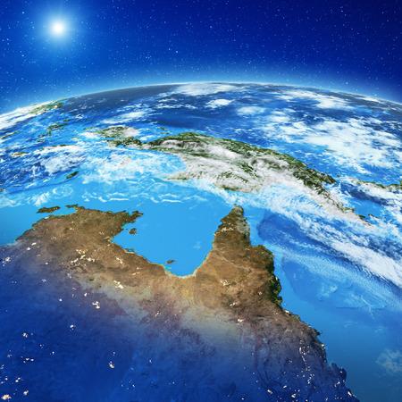 Papua Nueva Guinea y Australia del Norte. Elementos de esta imagen proporcionados por la NASA. Representación 3d