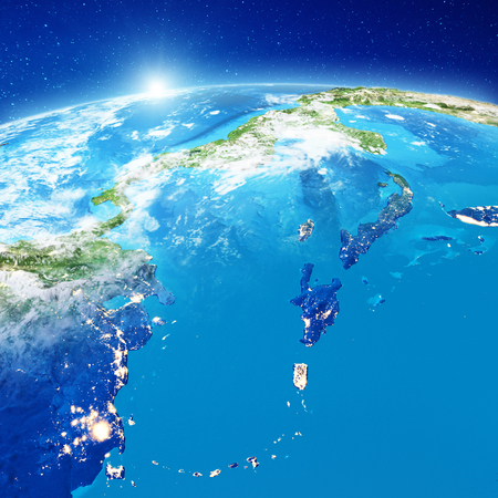 Caribbean islands from space. Elements of this image furnished by NASA. 3d rendering