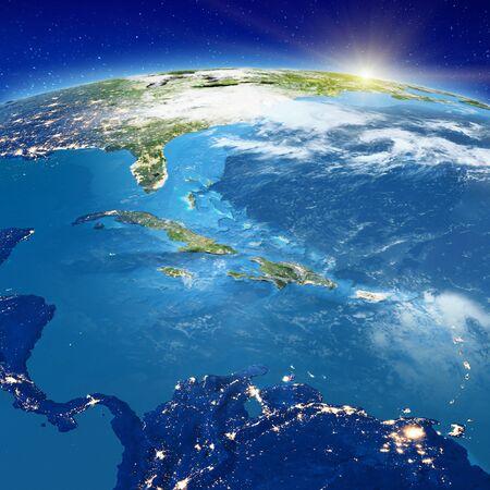 Caribe: Cuba, Jamaica, Haití, Islas Caimán y República Dominicana. Foto de archivo
