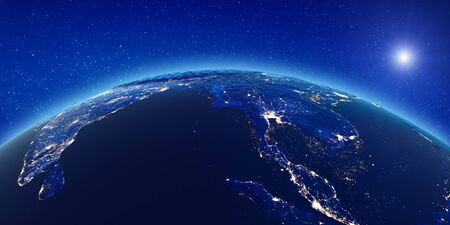 South-east Asia city lights.