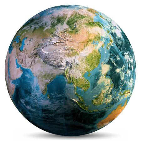Planeta Ziemia na białym tle.
