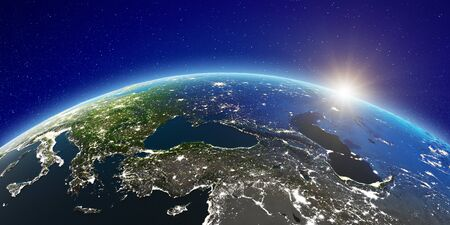 East Europe from space. 3d rendering