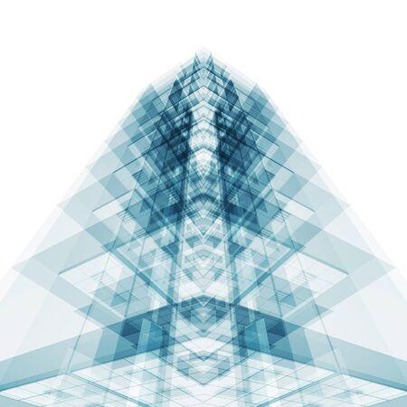 抽象アーキテクチャの概念。白は孤立した。3D レンダリング