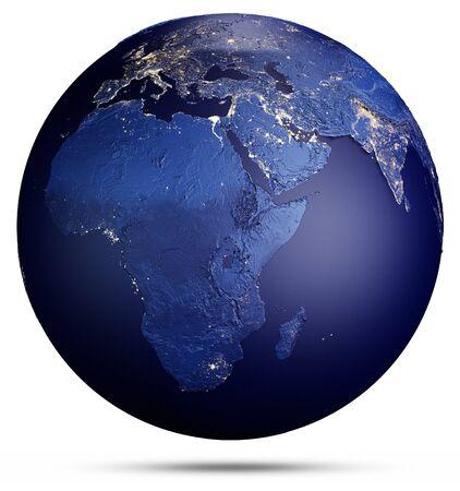 Planet Erde auf Weiß. 3D-Rendering