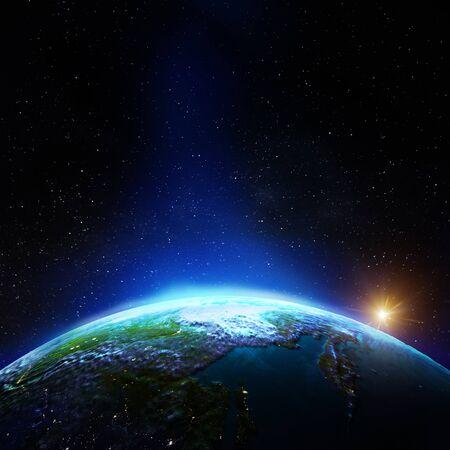Rusia oriental desde el espacio. Representación 3d