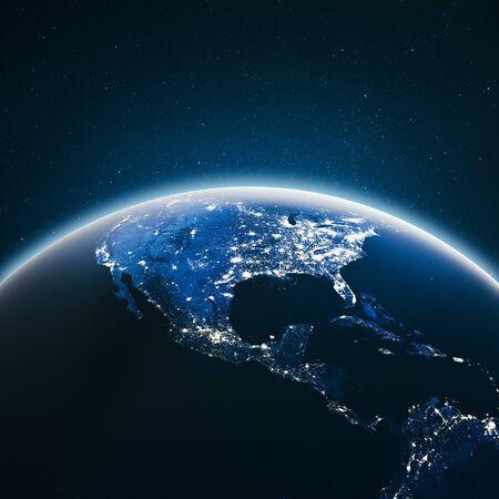 Lichter der Stadt Vereinigte Staaten. 3D-Rendering