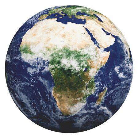 Planeta Tierra en blanco. Representación 3d