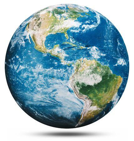 Planet Erde Globus isoliert. 3D-Rendering