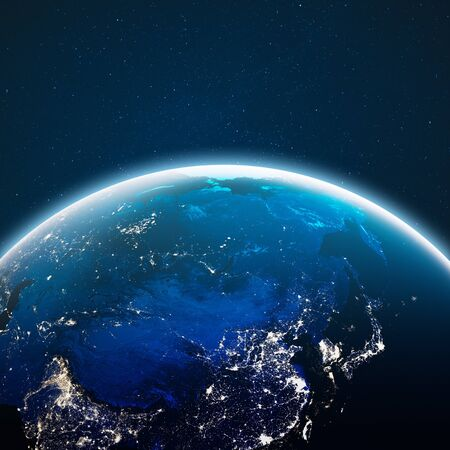 Terra dallo spazio. rendering 3d Archivio Fotografico