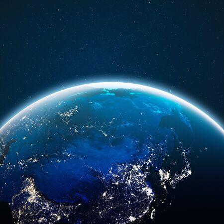 Tierra desde el espacio. Representación 3d Foto de archivo