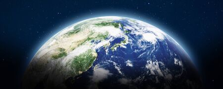 Planet Earth panoramic. 3d rendering