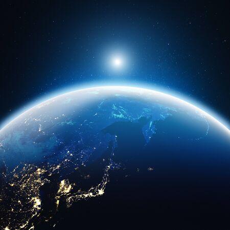 La città illumina il Giappone e la Russia orientale. rendering 3d
