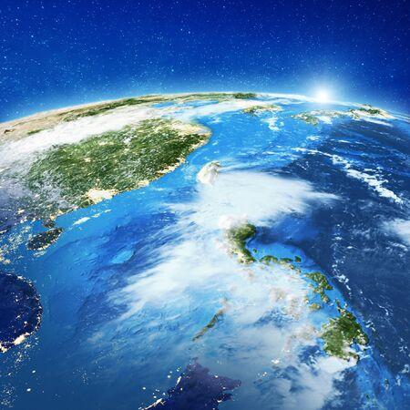 Islas Filipinas, nubes. Representación 3d