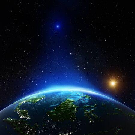 Indonesien aus dem Weltraum. 3D-Rendering