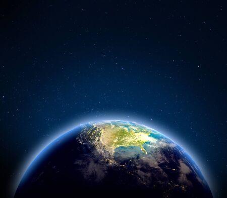 USA desde el espacio. Representación 3d Foto de archivo