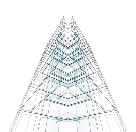 Architecture moderne de construction. Blanc isolé. rendu 3D