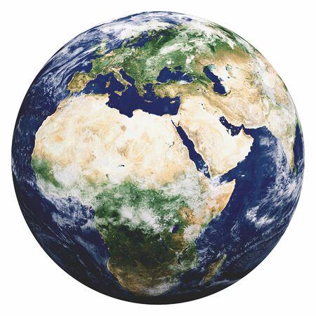 Planetenerde auf weiß. 3D-Rendering Standard-Bild