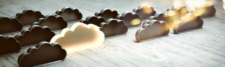 Concept cloud database. 3d rendering