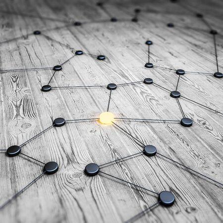 Communication concept innovation optimize algorithm. 3d rendering