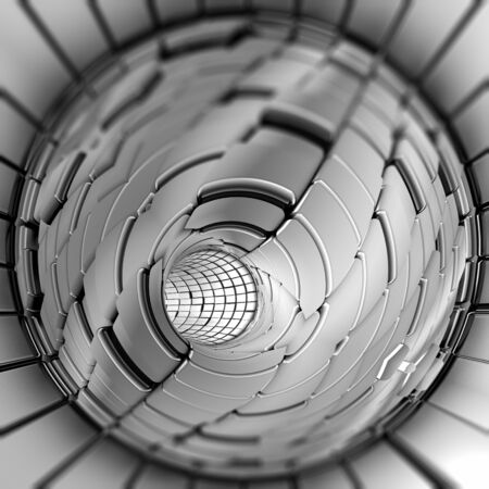 Silver abstract tunnel shapes futuristic 3d rendering Stok Fotoğraf