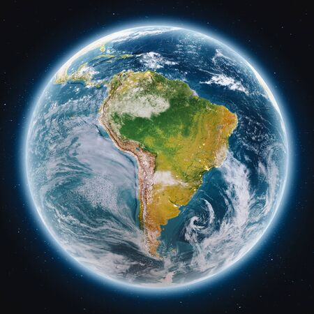 Planet Earth globe at night 3d rendering