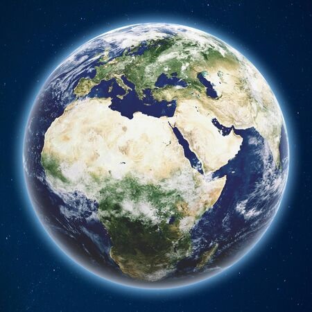 Planet Earth from space 3d rendering