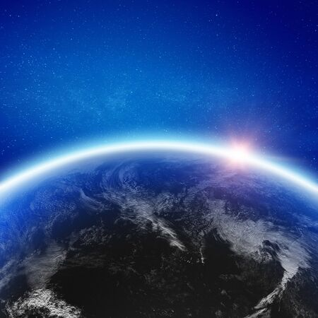 Earth clouds space background 3d rendering