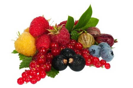 Mix of different fresh ripe berries photographed closeup isolated on a white background photo