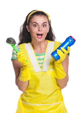 houseclean: Crazy housewife Stock Photo