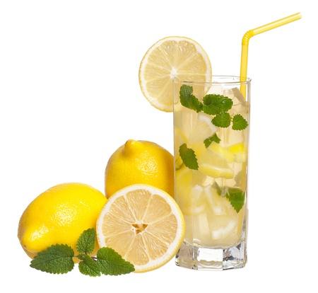 lemon water: Lemonade with mint Stock Photo