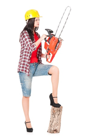 Woman with chainsaw photo