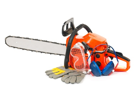 petrol powered: Gasoline-powered chainsaw