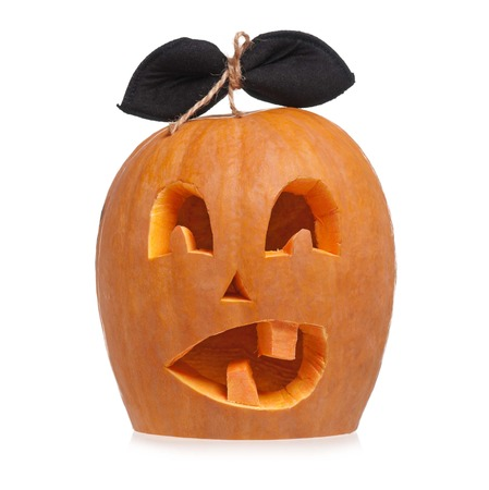 Terrible halloween pumpkin isolated on white background cutout photo