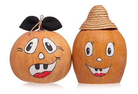 Emotional halloween pumpkins isolated on white background photo