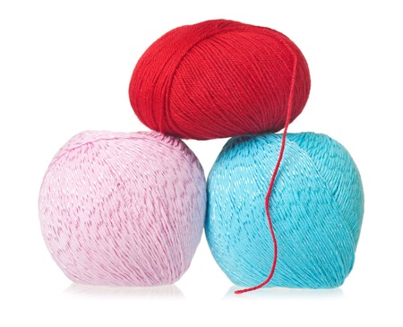 acrylic yarn: Woolen and acrylic yarn for knitting isolated on white background Stock Photo