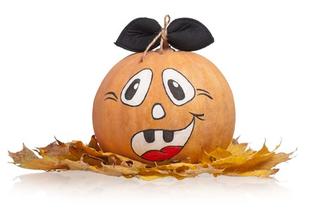 Halloween pumpkin on a dead foliage isolated on white background Stock Photo - 22995844