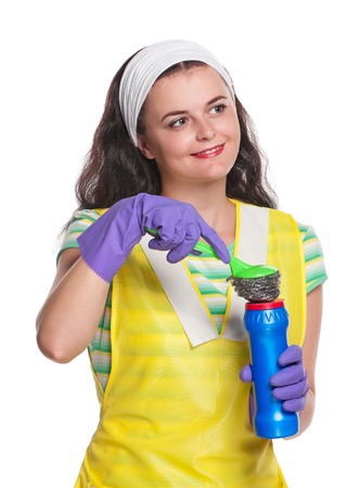 houseclean: Young housewife rejoices life isolated on a white background Stock Photo