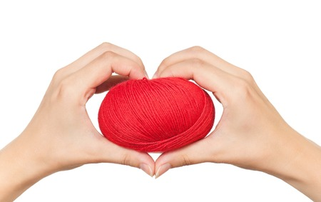Yarn red threads for knitting in a woman hands isolated on white background cutout photo