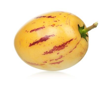 pepino: Whole single Pepino fruit on white background cutout Stock Photo