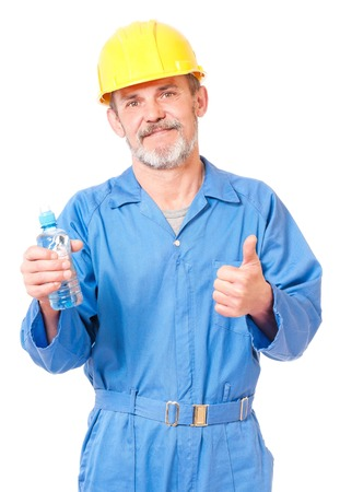 Adult contractor with bottle of water showing okay gesture isolated on white background