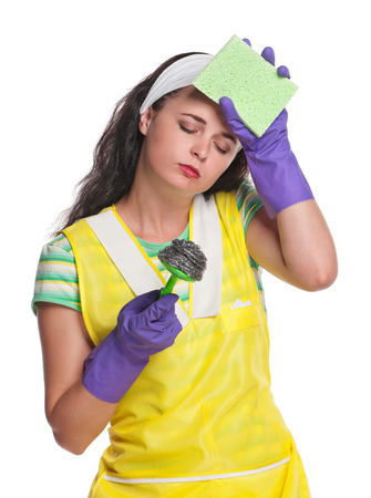 houseclean: Tired housewife in a rubber gloves isolated on white background