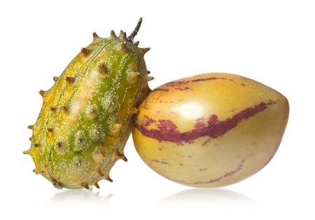 pepino: Kiwano melon and Pepino fruit isolated on white