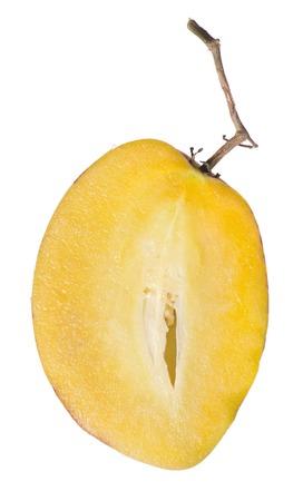 pepino: Half of ripe fresh Pepino fruit