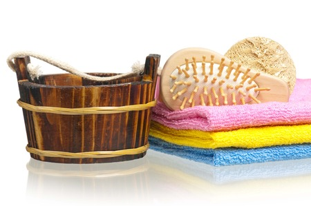 Bathing accessories for the body care isolated on white background Stock Photo