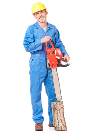 sawyer: Experienced adult worker with gasoline-powered chainsaw isolated on white background