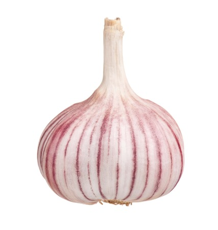 clean artery: Raw garlic bulb isolated on white background cutout Stock Photo