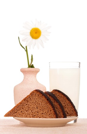 Slices of bread for sandwich on a plate with milk over white background photo