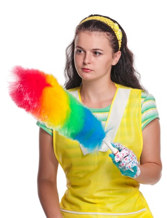 houseclean: Young housewife with sponge and brush isolated on white background Stock Photo