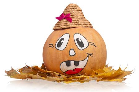 Halloween round pumpkin on a dead foliage over white background Stock Photo - 28552298